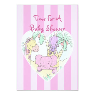 Jungle Baby Heart Blessings girl 5x7 Paper Invitation Card