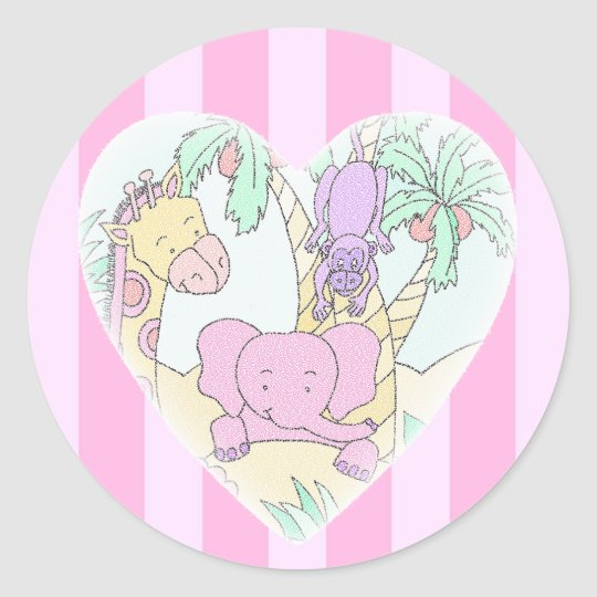 Jungle Baby Heart Blessings- girl Large Classic Round Sticker