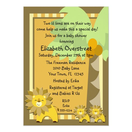 Jungle Baby Lion Twins Shower Party Zoo Safari Personalized Announcements