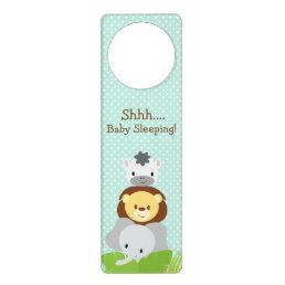 Jungle Baby Nursery door hanger blue