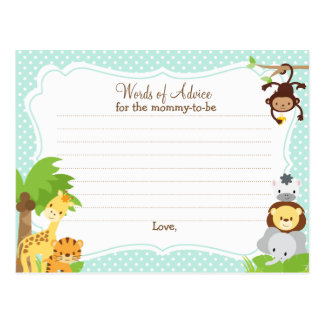 jungle baby shower advice card for the mom to be