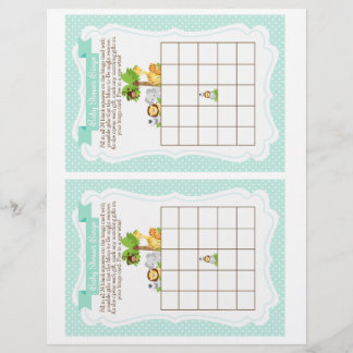 Jungle Baby Shower Bingo Game blue, 2 a page