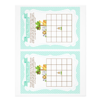 Jungle Baby Shower Bingo Game blue, 2 a page Letterhead