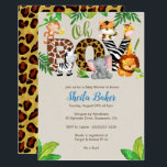 """Jungle Baby Shower Invitation - Boy Baby Shower<br><div class=""""desc"""">Oh Boy! Go Wild for this jungle animal-themed baby shower invitation.  A color scheme of blues,  greens and browns,  is perfect for anyone expecting a baby boy.</div>"""