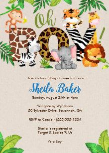 Jungle baby shower invitations zazzle jungle baby shower invitation boy baby shower filmwisefo