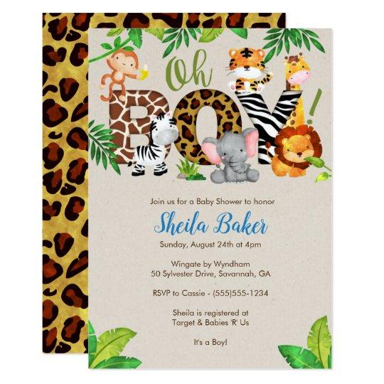 Safari Baby Shower Invitation: Jungle Baby Shower Invitation - Boy Baby Shower