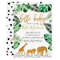 Jungle baby shower invitation Gold Animals