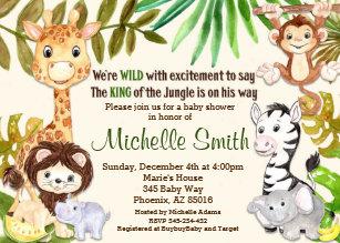 Safari baby shower invitations zazzle jungle baby shower invitation safari invitation filmwisefo