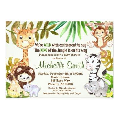 Safari Jungle Baby Boy Shower Invitation   Zazzle.com