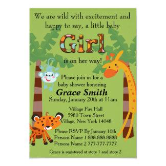 "Jungle Baby Shower Invite ""Girl"""