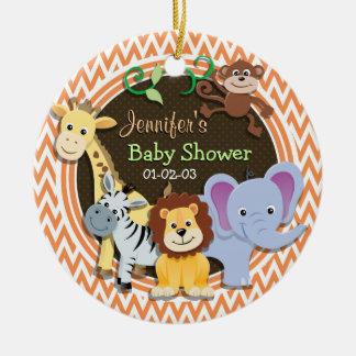 Jungle Baby Shower; Orange and White Chevron Ceramic Ornament