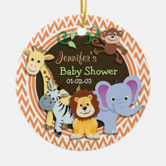 Jungle Baby Shower; Orange and White Chevron Christmas Tree Ornament