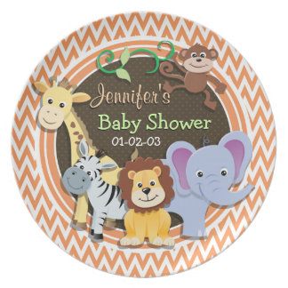 Jungle Baby Shower; Orange and White Chevron Party Plates