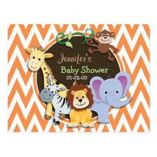 Jungle Baby Shower; Orange and White Chevron Postcard