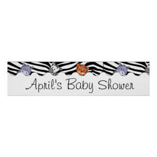 Jungle Baby Shower Party Banner Poster
