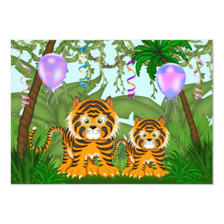 Jungle Bengal Tiger Baby Shower Invitation ~ Girls