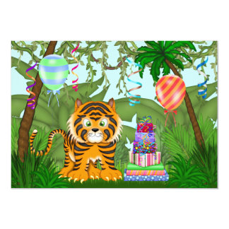 "Jungle Bengal Tiger Birthday Party Invitation 5"" X 7"" Invitation Card"