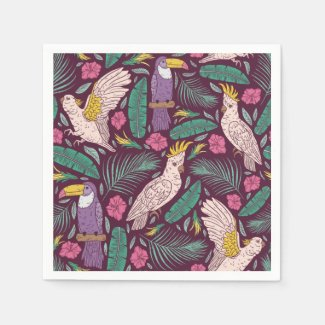 Jungle Birds and Tropical Leaves Purple Napkins