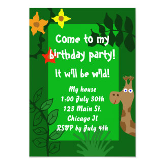 "Jungle Birthday Party Invitation 5"" X 7"" Invitation Card"
