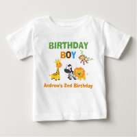 Jungle Birthday Tshirt Toddler Baby Kid Safari