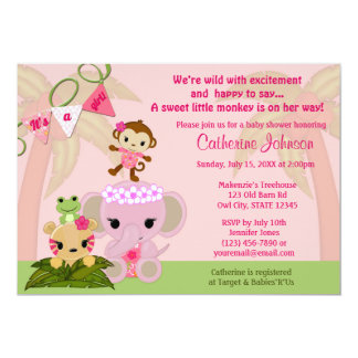 "Jungle Blossom Tails Baby Shower Invitations GIRL 5"" X 7"" Invitation Card"