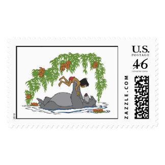 Jungle Book Baloo holding up Mowgli Disney Postage Stamp