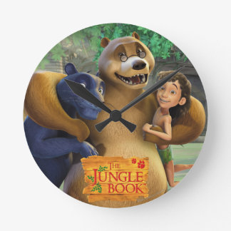 Jungle Book Group Shot 1 Round Clock