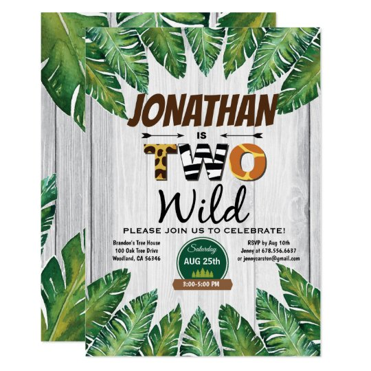 Jungle Boy 2nd Birthday Party Invitation Safari