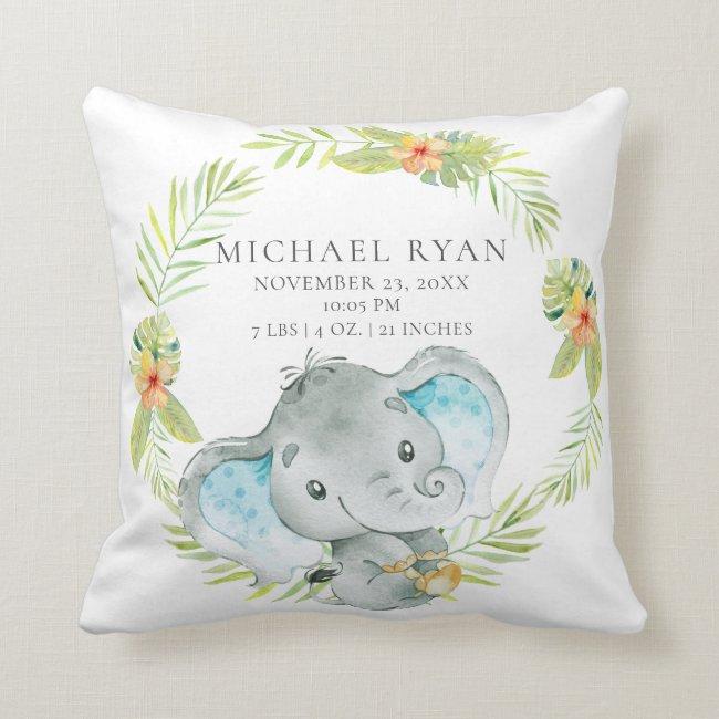 Jungle Boy Elephant Baby Birth Stats Pillow