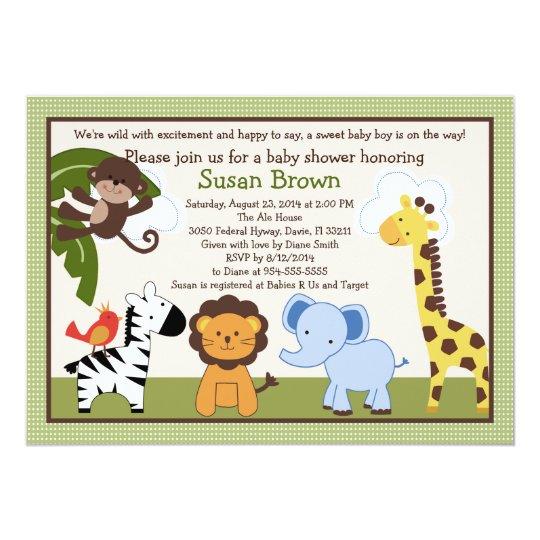 Jungle Buds Animals Baby Shower Invitation