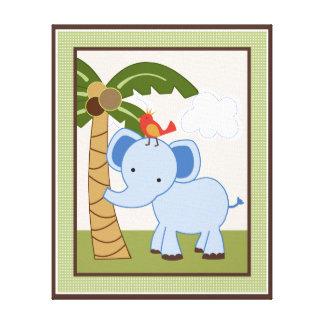 Jungle Buddies/Pals/Friends Elephant Canvas Art Canvas Print