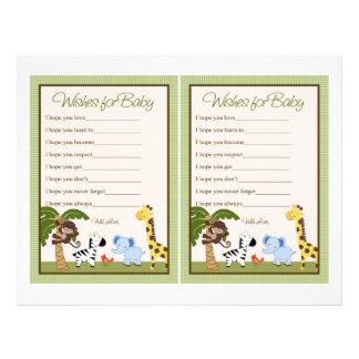 "Jungle Buddies/Safari ""Wishes for Baby"" sheet"