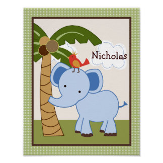 Jungle Buddy Elephant Personalized Art Poster