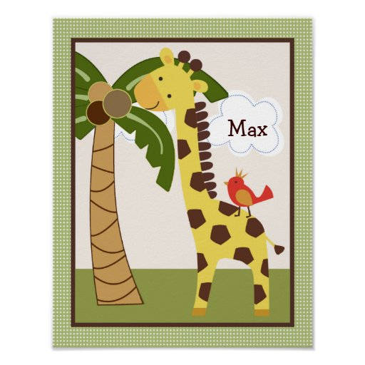 Jungle Buddy Giraffe Personalized Art Poster