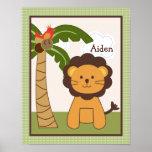 Jungle Buddy Lion Personalized Art Poster