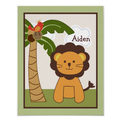 Jungle Buddy Lion Personalized Art Poster