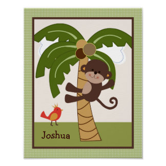 Jungle Buddy Monkey Personalized Art Poster