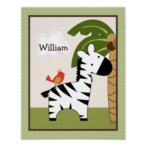 Jungle Buddy Zebra Personalized Art Poster