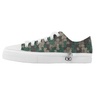 Jungle Camo Jigsaw Pattern Low Top Printed Shoes