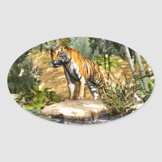 Jungle Cat Oval Sticker