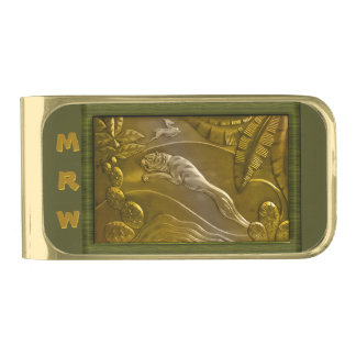 Jungle Dance with Tiger and Gazelle (Monogrammed) Gold Finish Money Clip