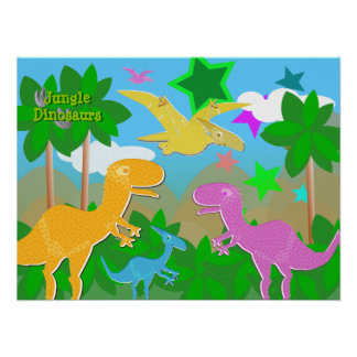 Jungle Dinosaurs Color Poster