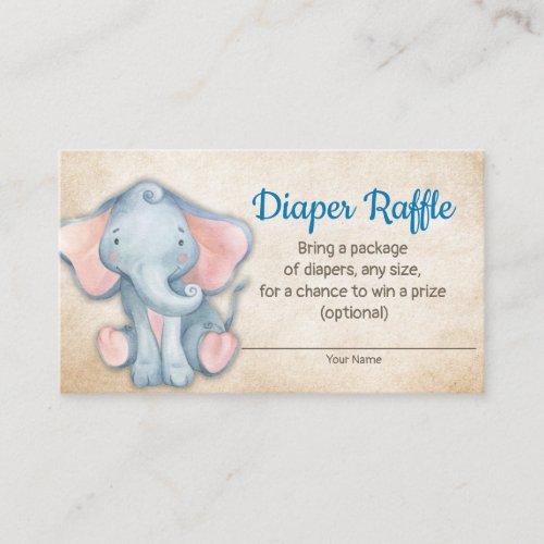 Jungle Elephant Baby Shower Diaper Raffle Card