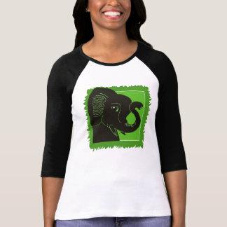 Jungle Elephant Ladies Raglan T-Shirt