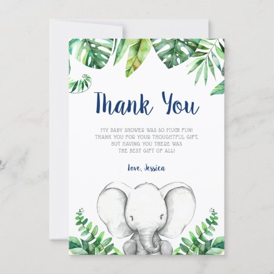 Baby Shower Thank You Cards Navy Elephants Navy Thank You Cards Thank you Cards 50 Baby Thank You Cards