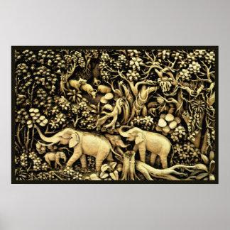 Jungle Elephants 26 x 24 Poster