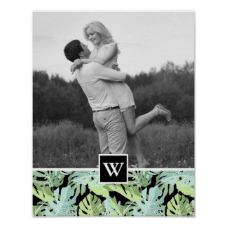 Jungle Floral Pattern | Add Your Photo & Initial Poster