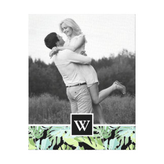 Jungle Floral Pattern | Photo with Monogram Canvas Print