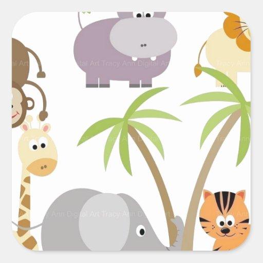 jungle-flower square sticker