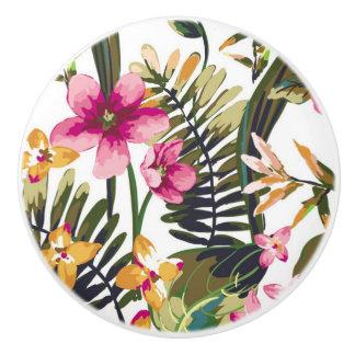 Jungle Flower Water Color Ceramic Knob